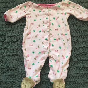 Pink monkey footie pajamas snap up